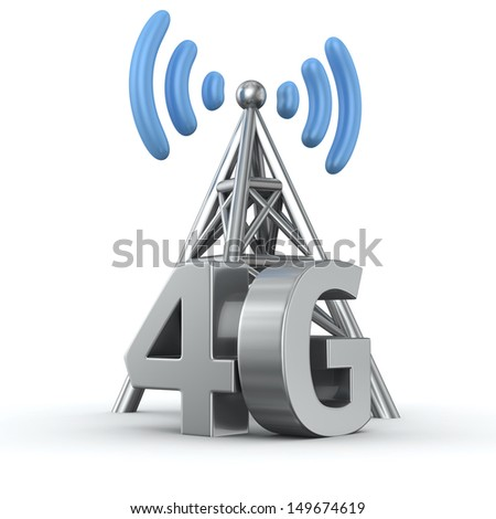Metal antenna symbol with letters 4G on white - stock photo