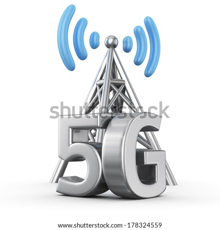 Metal antenna symbol with letters 5G on white - stock photo
