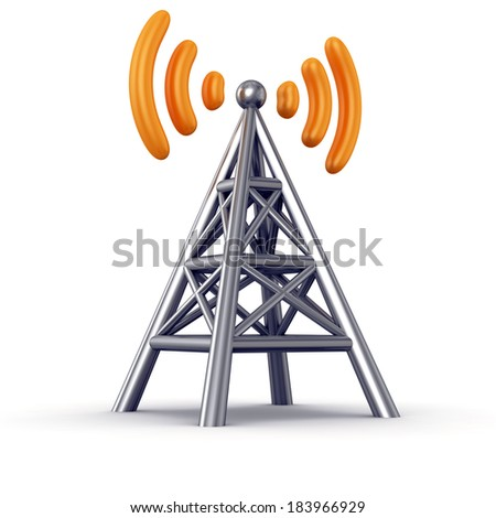 Metal antenna symbol with orange radio waves isolated on white background - stock photo