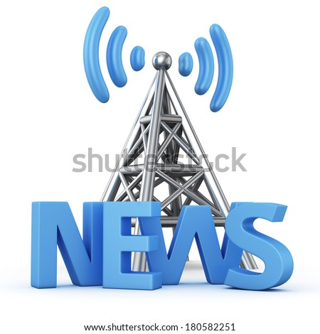 Metal antenna symbol with word NEWS on white - stock photo