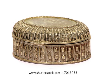 metal antique jewelery box with ornament isolated on white background