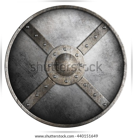 metal armored round shield isolated 3d illustration