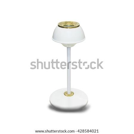 Metal ashtray bin isolated on white background - stock photo