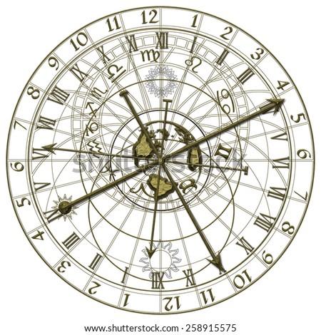 Metal Astronomical Clock - stock photo