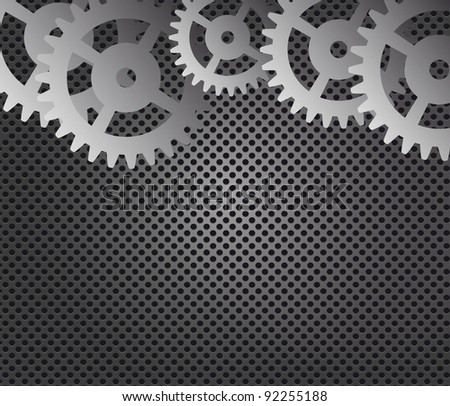 Metal background and gears  Raster version illustration - stock photo