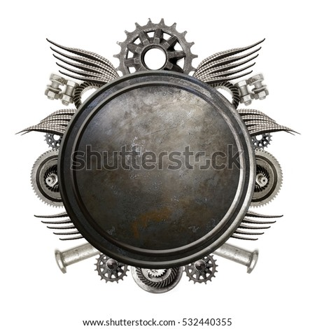 Metal background. Metal disc