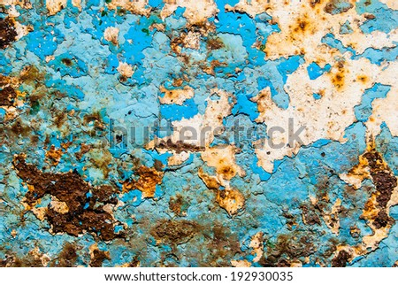 metal background painted with blue paint - stock photo