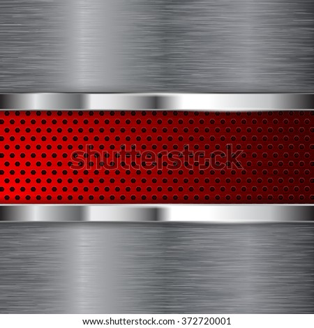 Metal background. Red perforated steel plate with chrome frame. Brushed steel. Illustration. Raster version. - stock photo