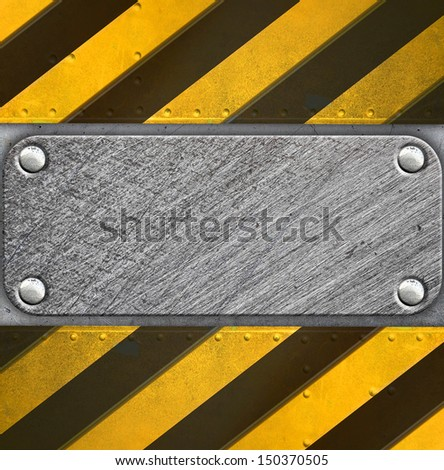 Metal background with caution stripes - stock photo