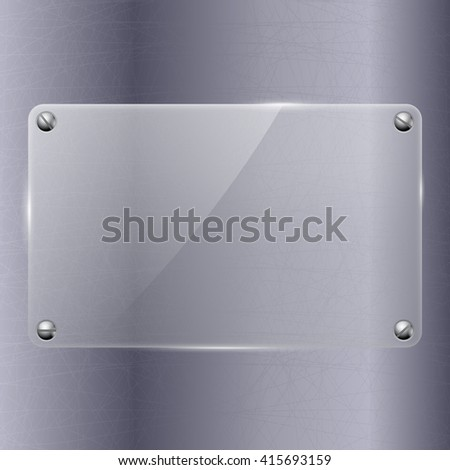 Metal background with glass plate. Illustration