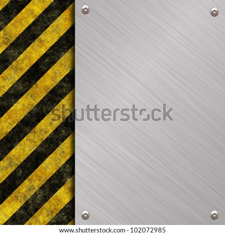 metal background with warning stripes - stock photo