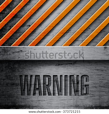 Metal background with yellow warning stripes - stock photo
