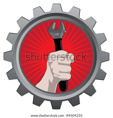 metal badge with hand with spanner. raster version - stock photo