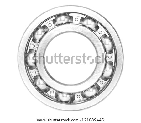 metal ball bearing, isolated - stock photo