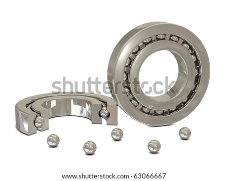 Metal ball bearings cross section isolated on white background