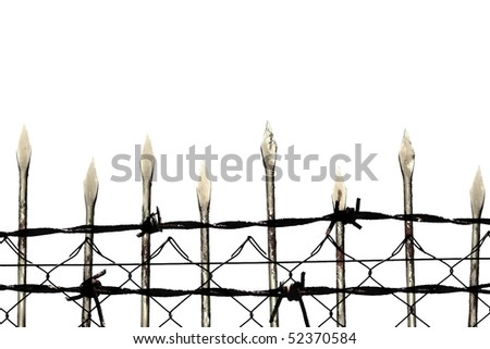 Metal barbed wire fence protection isolated on white for background texture - stock photo