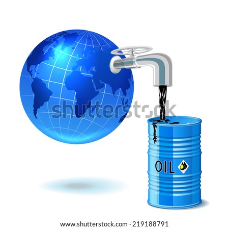 Metal barrel with oil, faucet and globe are on white background (raster version). - stock photo