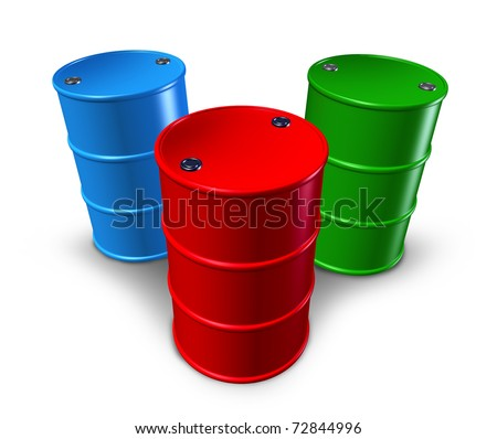 Metal barrels and drums with multiple colors representing toxic materials and synthetic chemical storage. - stock photo