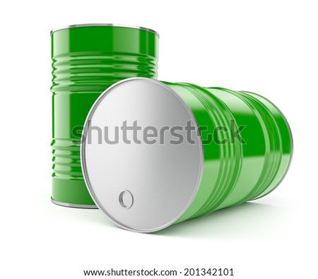 Metal barrels for oil or petrol storage. 3d rendered illustration. Isolated on white background. Clipping path included - stock photo