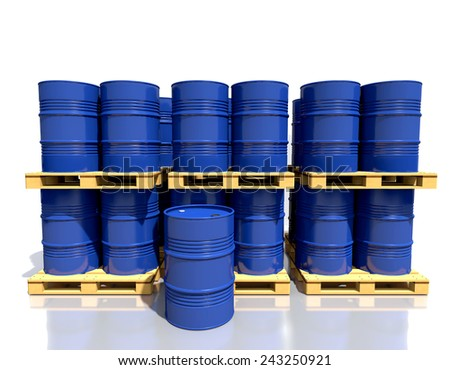 Metal barrels of fuel on a wooden pallet are in the industrial warehouse on white background. - stock photo