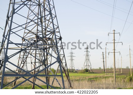 metal Bearing high-voltage power line  - stock photo