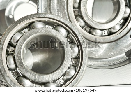 Metal bearings. CNC technology, machining, milling lathe and drilling industry. Mechanical engineering. Metalwork. Closeup. - stock photo