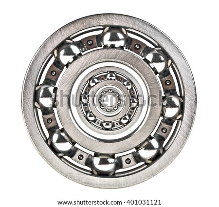 Metal bearings isolated on a white background - stock photo