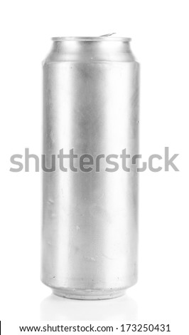 Metal beer can isolated on white - stock photo