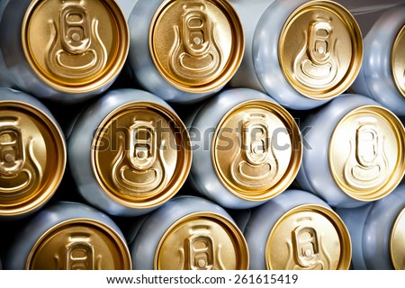 metal  beer cans background - stock photo
