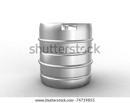 Metal beer keg isolated on white - stock photo
