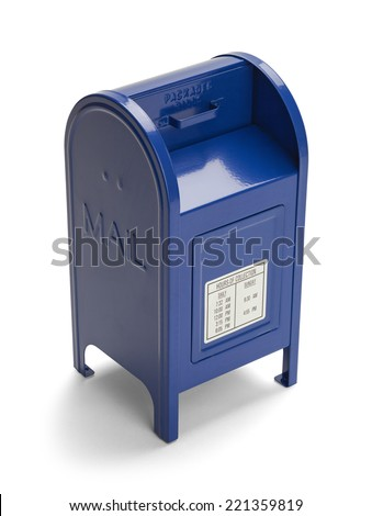 Metal Blue Postal Mail Box Isolated on White Background.