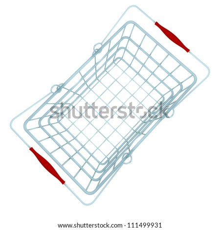 metal blue shopping hand basket illustration in perspective top view - stock photo
