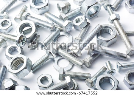 metal bolts and nuts - stock photo