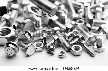 metal bolts and nuts of various types,   - stock photo