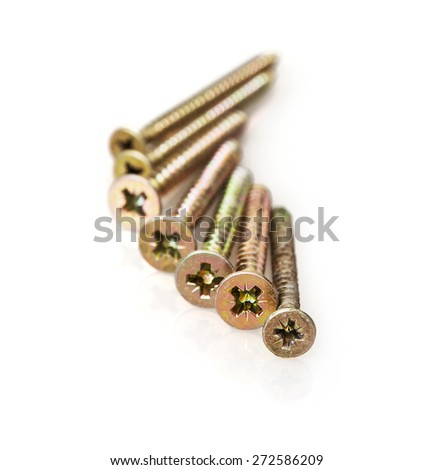 Metal bolts on the white background. - stock photo