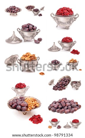 Metal bowl, collage,walnut kernels, natural dates,dried cranberries isolated on white background