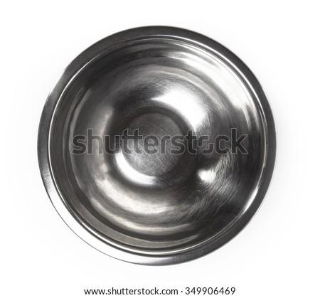 metal bowl on a white background - stock photo