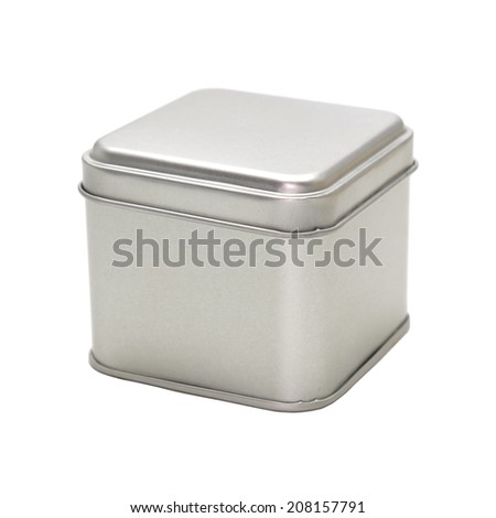 Metal box isolated on white background  - stock photo