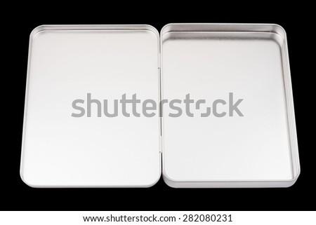 Metal box on white background - stock photo