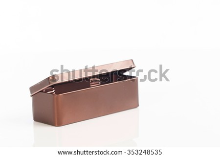 metal box on white background ,selective focus - stock photo