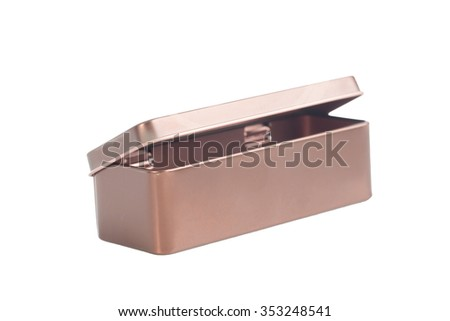 metal box on white background ,selective focus