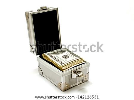 metal box with dollars. - stock photo
