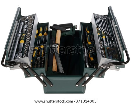 metal box with tools - stock photo