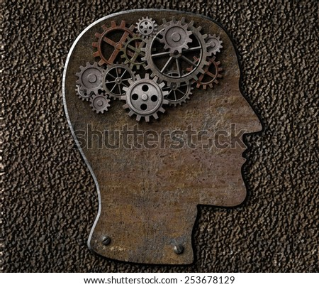 Metal brain gears and cogs. Mental illness, psychology, invention and idea concept. - stock photo
