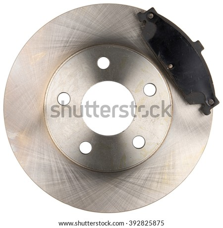 Metal Brake Disc Rotor with Brake Pad Isolated