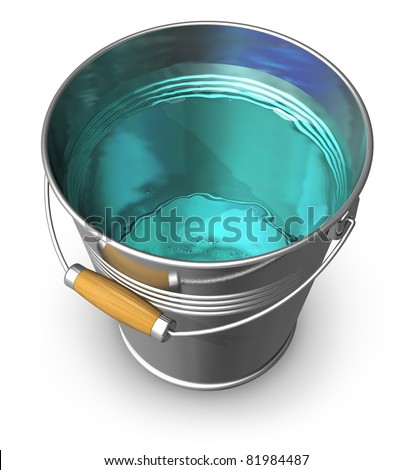 Metal bucket full of clear water isolated on white background - stock photo