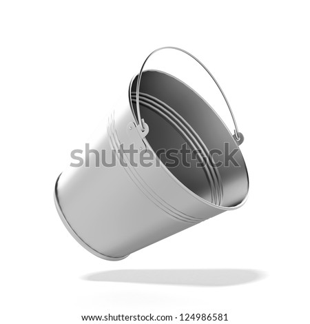 Metal bucket isolated on a white background - stock photo