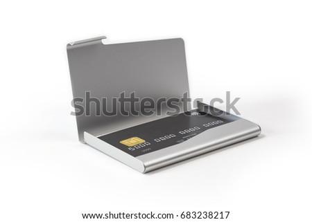Metal business card holder black credit stock photo royalty free metal business card holder with black credit card colourmoves