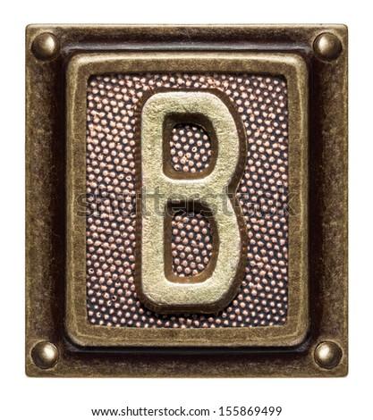 Metal button alphabet letter B - stock photo