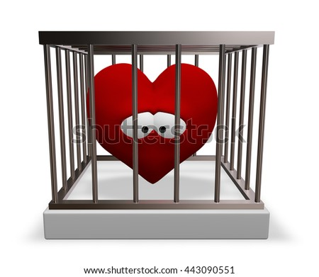 metal cage with red sad heart inside - 3d rendering - stock photo